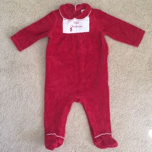 Janie and Jack First Christmas velvet footie 3-6mo